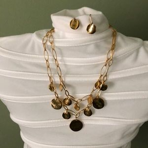 Talbots Gold Tone Necklace w Earings